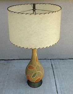 Great Mid Century Lamp with Fiberglass Drum Shade by ProvisionsNJ
