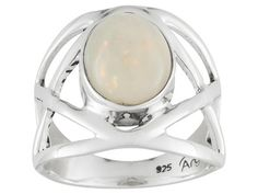 Artisan Gem Collection Of India, 2.00ct Oval Cabochon Ethiopian Opal Sterling Silver Ring