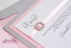 Soft and Sweet Pink and Silver wedding or by yourstrulyinvitation