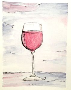 Red Wine Original Watercolor by DanaLundy on Etsy, $35.00