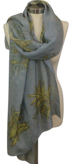 Design Silk Scarf, Light Blue Silk Scarf, Eco Print, Soft Scarves,  Women Scarf, Fashion Accessories, Scarves and Wraps, Handmade Scarf by rachelsilkscarves on Etsy