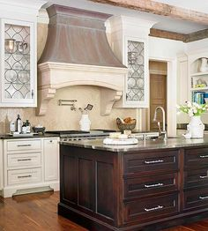 New Kitchen Island Storage Ideas Stove Ideas Kitchen Island Storage, Kitchen Redo, New Kitchen, Kitchen Cabinets, Glass Cabinets, Kitchen Ideas, Cream Cabinets, Glass Kitchen, White Cabinets