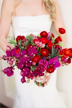 hot pink and red bouquet