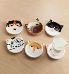 Cat Coasters Set, 6-Pc.  $13.95