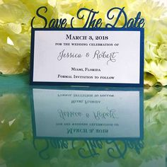 Save-the-Date with the date! This laser cut Save-The-Date features your wedding date at the top of the card with a mounted layer with additional details.