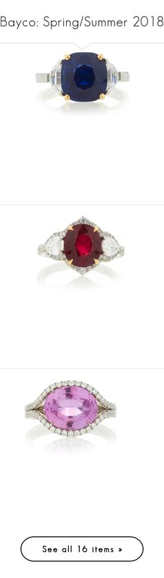 """""""Bayco: Spring/Summer 2018"""" by livnd ❤ liked on Polyvore featuring jewelry, livndjewelry, springsummer2018, Bayco, livndbayco, rings, blue, diamond jewelry, sapphire rings and diamond rings"""