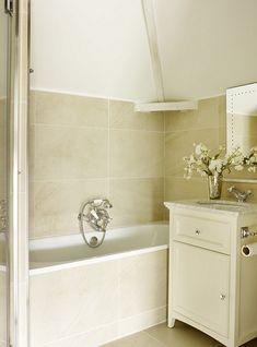 Gorgeous neutral bathroom...love the tiles! Want for my en suite please!!!