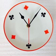 Plate Clock - Card Symbol Tea Plate Kitchen Wall Clock  Red by LaviniasTeaParty