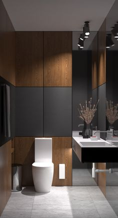 Akhunov Architects, The design of the guest bathroom solution without the use of. - Akhunov Architects, The design of the guest bathroom solution without the use of wall tiles, decora - Bad Inspiration, Bathroom Inspiration, Ideas Baños, Decor Ideas, Tile Ideas, Backsplash Ideas, Toilette Design, Modern Powder Rooms, Small Powder Rooms