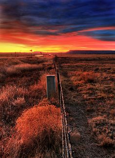 Fence line in a fiery New Mexico sunset, United States New Mexico Homes, New Mexico Usa, Land Of Enchantment, The Ranch, Wild West, Landscape Design, Natural, Beautiful Places, Beautiful Scenery