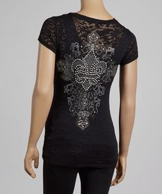 Take a look at this Black & Silver Baroque Fleur-de-Lis Burnout Top by Sweet Girl on #zulily today!