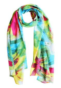 Feisty Floral Watercolour on Blue Scarf http://www.handmadebyme.co.za/