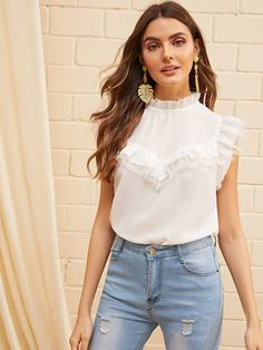 Shop & Buy Contrast Lace Frill Neck Ruffle Armhole Mesh Insert Blouse Stand Collar Women Sleeveless White Summer Blouse Online from Aalamey Spring Shirts, Summer Blouses, Crop Blouse, Sexy Blouse, Lace Insert, Pli, Blouse Online, No Frills, Blouses For Women