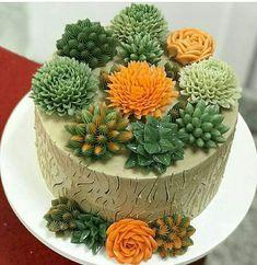 Bolo Floral, Giant Cupcakes, Cupcake Cakes, Goodies, Desserts, Cactus, Kitchen, Cakes, Succulents