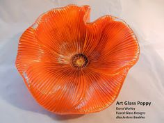 Orange fused glass poppy free tutorial