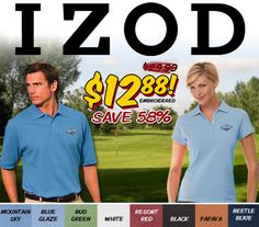 Embroidered His/Hers IZOD Premium Red Label Polos Only $12.88 - These won't last Order NOW! https://www.logoup.com/Mens-Classic-Pima-Pique-Sport-Shirt_p_511.html #customshirts #embroidery #cybermondaydeals