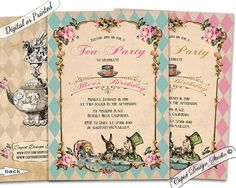 Alice in wonderland invitation printable/Alice and by CupidDesigns