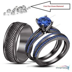 Blue Sapphire Trio Wedding Ring His Hers Bands Set And 10K Black Gold 1.75 carat #SolitaireWAccents
