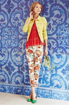 Love Is In The Air Outfit: Pilcro Colored Denim Jacket, Peony Charlie Trousers, Katrine Peplum Top, Collected Heirloom Earrings #anthropologie