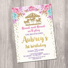 carousel birthday invitation, carousel invites, carousel party printable girl birthday invitation 1st first birthday, pink gold birthday