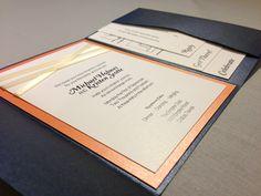 Navy And Orange Pocketfold Wedding Invitation