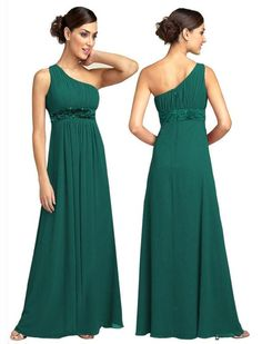 One shoulder green dress, maybe in navy