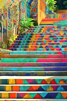 Painted stairs in Armenia Street, Mar Mikhael (Beirut, Lebanon).