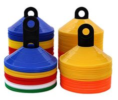 World Sport Disc Cone Sets or 100 Multi Color / 50 or 100 Half Orange Half Yellow) *** Continue to the product at the image link. (This is an affiliate link) Football Workouts, Football Drills, Basketball Skills, Football Soccer, Speed Training Drills, Soccer Training, Soccer Equipment, Training Equipment