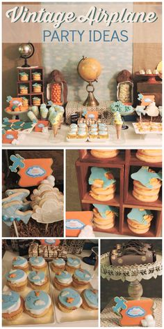 An orange and teal Vintage Airplane boy birthday party with cookie stacks, push up pops and globes!  See more party planning ideas at CatchMyParty.com!