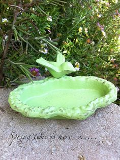 Petite Garden Bird Bath Shabby Chic Garden Decor by CamillaCotton.