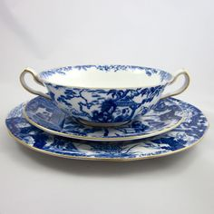 ROYAL CROWN DERBY 'Blue Mikado' c1930s six cream soup & salad (18pc) from muses-antiques on Ruby Lane