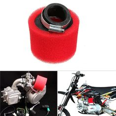 50mm Air Filter CLEANER For Motorbike Filters Systems Parts Red Motorcycles Accessories Foam & Aluminium & rubber