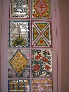 painted windows at La Fonda hotel, Santa fe