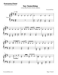Say Something Stave Preview 1-Free Piano Sheet Music & Piano Chords