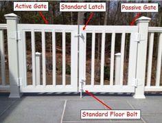 Double Gates - Trex Custom Deck Gates / Located in Rockland County . Porch Gate, Deck Gate, Front Porch, Pet Gates For Stairs, Deck Stairs, Vinyl Deck, Vinyl Railing, Railings, Vinyl Gates