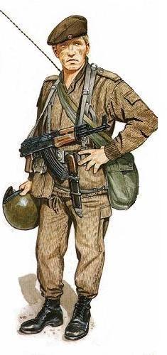 Paracaidista NVA, 40 th Abn. Bn., con uniforme de verano, 1985.