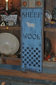 Old Blue Paint Wood Sheep Wool Sign/Game Board Country Primitive Folk Art Decor #NaivePrimitive #artist