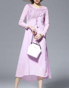 Charming Embroidered Long Sleeve Casual Midi Dress - AdoreWe.com