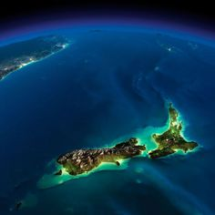 New Zealand - earth seen from space at night by nasa Earth At Night, Image Nature, Earth From Space, Jolie Photo, South Island, Image Hd, Photos Du, Timeline Photos, Planet Earth