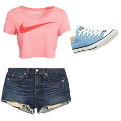 Nike Outfit by purplesparkle6502 on Polyvore featuring polyvore fashion style NIKE rag & bone/JEAN Converse