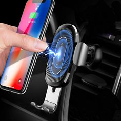 Baseus Qi Wireless Fast Charging Gravity Auto Lock Air Vent Car Phone Holder - Magnetic Iphone Car Holder - Ideas of Magnetic Iphone Car Holder - Baseus Qi Wireless Fast Charging Gravity Auto Lock Air Vent Car Phone Holder Stand for iPhone 8 X Black