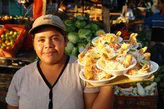 Vigorón: Yuca, pork rind and cabbage salad. A specialty in Granada's central park! #Nicaragua #food