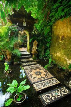 """to the shrine, Bali / Indonesia (by Ahmad. """"Path to the shrine, Bali / Indonesia (by Ahmad Syukaery).""""""""Path to the shrine, Bali / Indonesia (by Ahmad Syukaery). Beautiful World, Beautiful Places, Path Design, Design Ideas, Zen Garden Design, Foyer Design, Garden Paths, Garden Pond, Yoga Garden"""