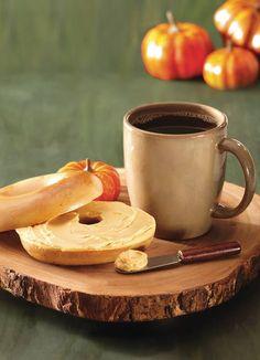 Pumpkin bagels! Pumpkin cream cheese! Pumpkin coffee! All from Bruegger's Bagels.