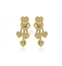 Stylish Gold Plated Heart Hanging Ear Rings