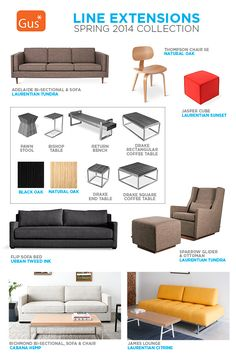 Gus* Modern   Spring 2014 Line Extensions Sofa Bed, Sectional Sofa, Couch, Line Extension, Glider And Ottoman, Spring 2014, End Tables, Modern Furniture, Extensions