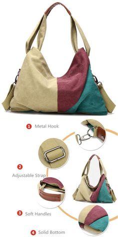 Women canvas contrast color handbags casual shoulder bags capacity hobo  shopping crossbody bags sims 3 handbags  h  amp   co  handbags  handbags   designer ... 0bb84dcdea