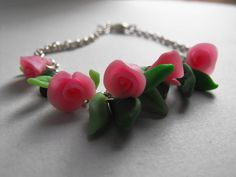 Romantic bracelet with rose and leaves by JourneyToAFantasy