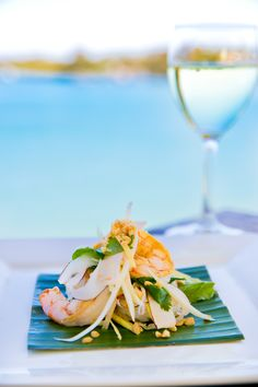 Delicious food and a gorgeous view from the Noosa Boathouse - what more could you ask for? Green Mango Salad, Boathouse, Prawn, Scallops, Tasty Dishes, Delish, Seafood, Taste Food, Food Porn