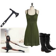 River Tam by aaaaahhhhhh on Polyvore featuring river tam, dress, boots and battle axe